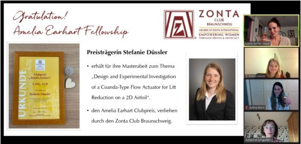 Virtuelle Urkundenübergabe an die Preisträgerin Stefanie Düssler